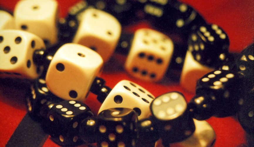 Black and white playing dices
